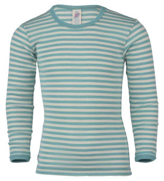 Kinder-Unterhemd langarm, Feinripp pastelblue/natur (9:9)