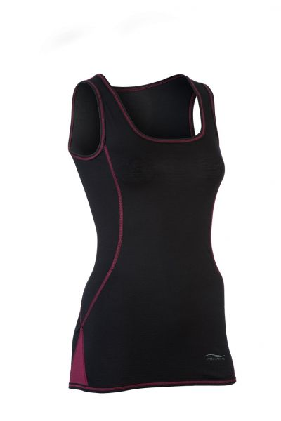 Damen Tank Top, Slim fit black/tango red