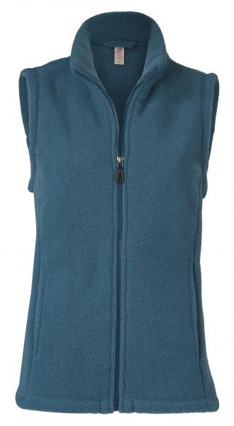 Damen-Weste mit Reißverschluss, tailliert, mit Taschen, dickes Fleece atlantik