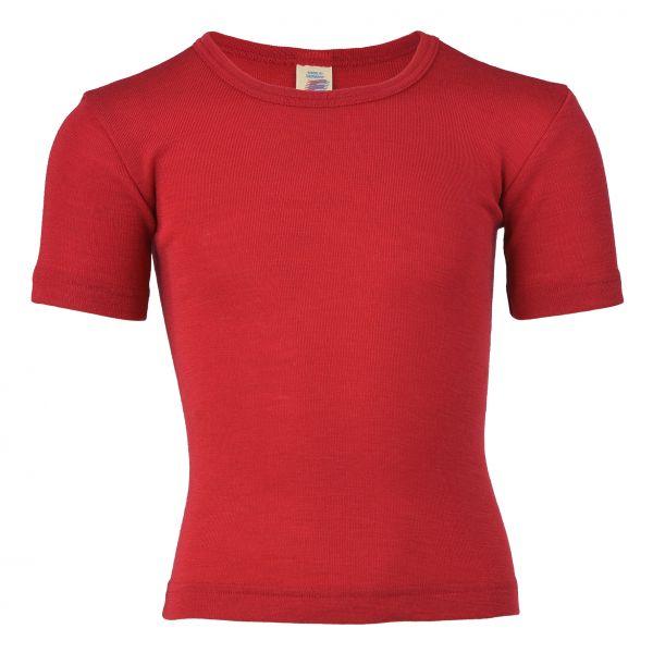 Kinder-Unterhemd kurzarm, Feinripp kirschrot