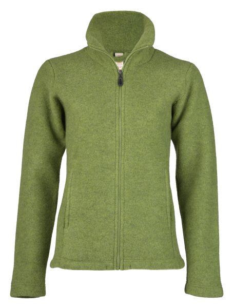Damen-Jacke mit Reißverschluss, tailliert, mit Taschen, dickes Fleece moos