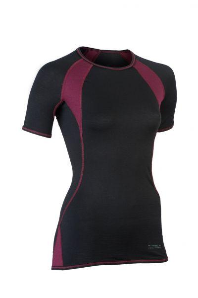 Damen Shirt kurzarm, Slim fit black/tango red