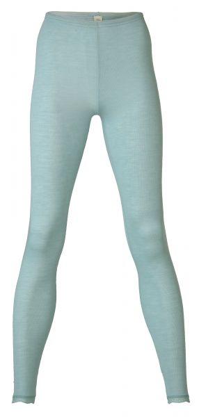 Damen-Leggings mit Spitzenabschluss am Bein, Feinripp gletscher