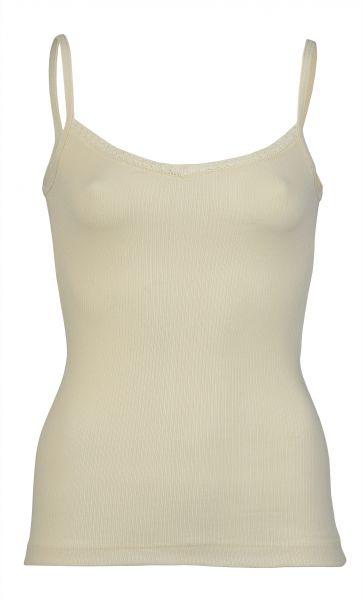 Damen-Top mit V-Ausschnitt und Spitze, Nadelzug natur