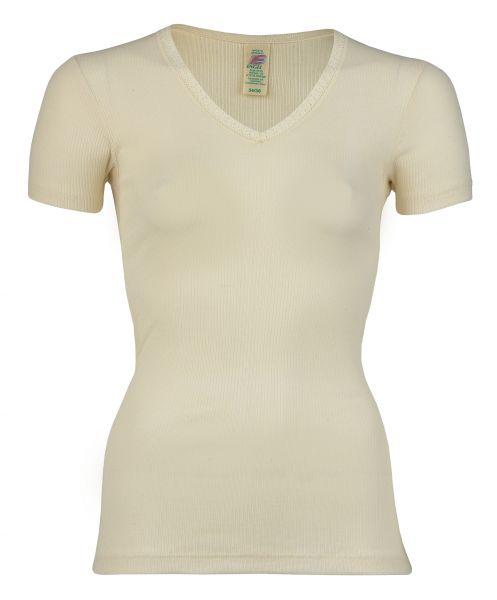 Damen-Shirt kurzarm mit V-Ausschnitt und Spitze, Nadelzug natur