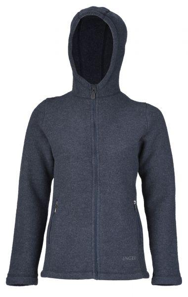Damen-Jacke mit Kapuze, tailliert, mit Reißverschluss auch an den Taschen, dickes Fleece denim melange