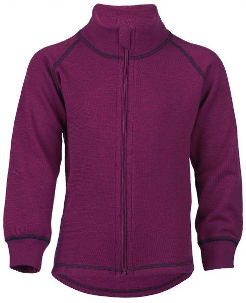 Sportive Zip-Jacke für Kinder, mit Kontrastnähten und Kinnschutz, Frottee Inside out beere melange
