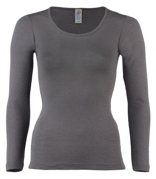 Damen-Shirt langarm, Feinripp taupe