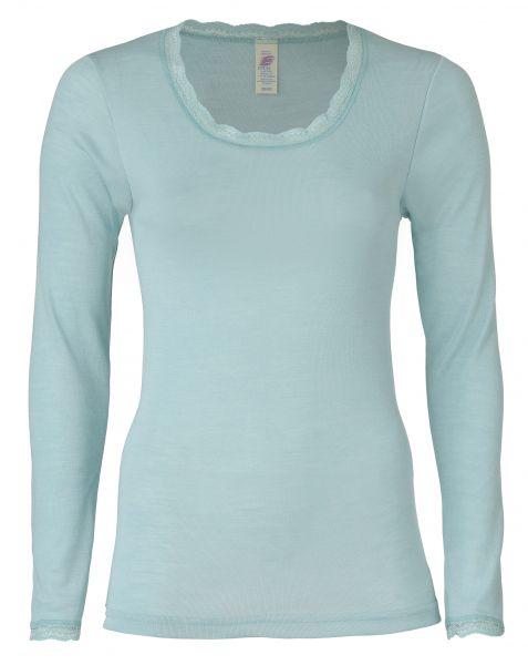 Damen-Shirt langarm mit Spitzenabschluss am Hals und an den Ärmeln, Feinripp gletscher