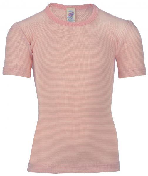 Kinder-Unterhemd kurzarm, Feinripp pastelpink/natur (2:2)