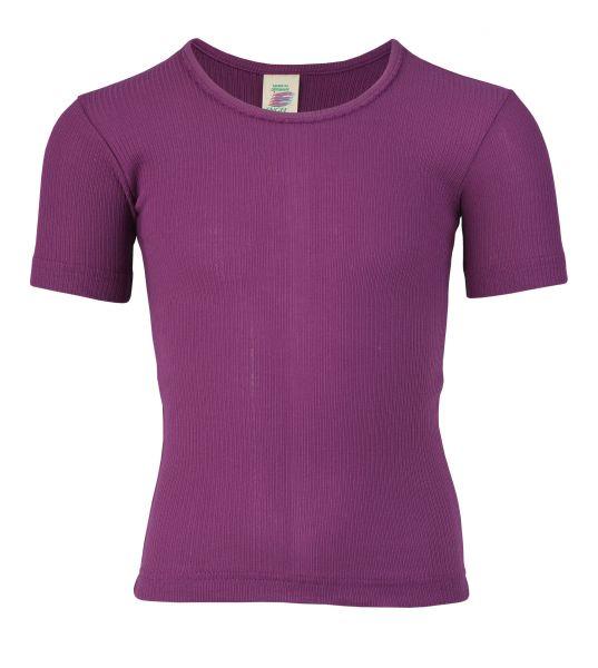 Mädchen-Unterhemd kurzarm, mit Crochetta-Spitze, Nadelzug fuchsia