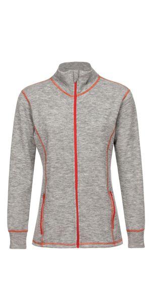 Damen-Jacke sportiv, Frottee inside out hellgrau melange (mit orange)
