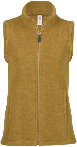 Damen-Weste mit Reißverschluss, tailliert, mit Taschen, dickes Fleece safran melange