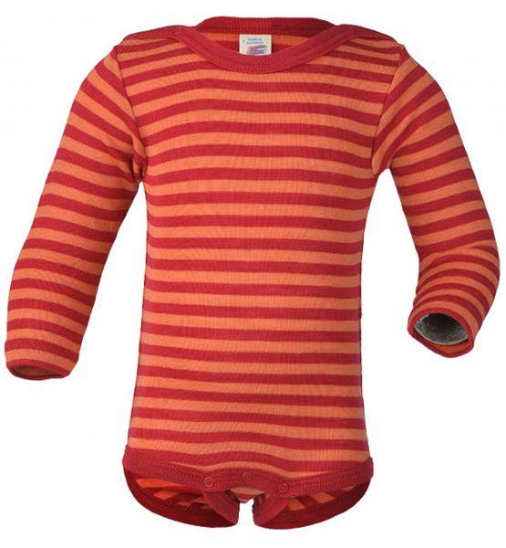 Baby-Body langarm, Feinripp kirschrot/orange