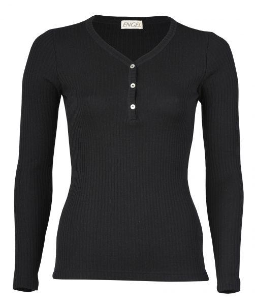 Damen-Shirt langarm mit Knopfleiste, Interlock Rippe schwarz
