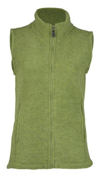 Damen-Weste mit Reißverschluss, tailliert, mit Taschen, dickes Fleece moos