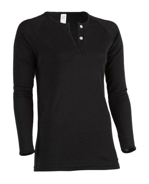 Longshirt für Damen, Feinripp schwarz