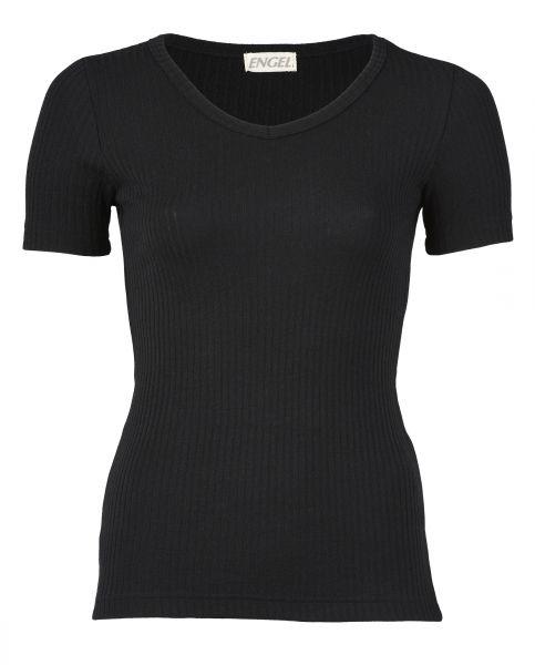 Damen-Shirt kurzarm mit V-Ausschnitt, Interlock Rippe schwarz