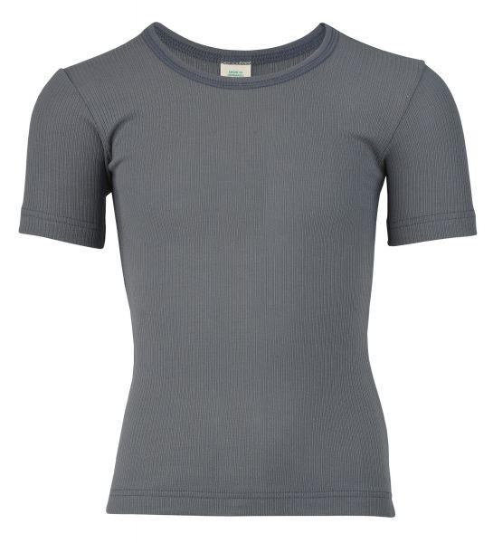 Unterhemd für Jungen kurzarm, Nadelzug graphit