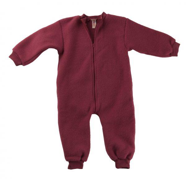 Baby-Overall ohne Kapuze mit Reißverschluss, Fleece darkrose