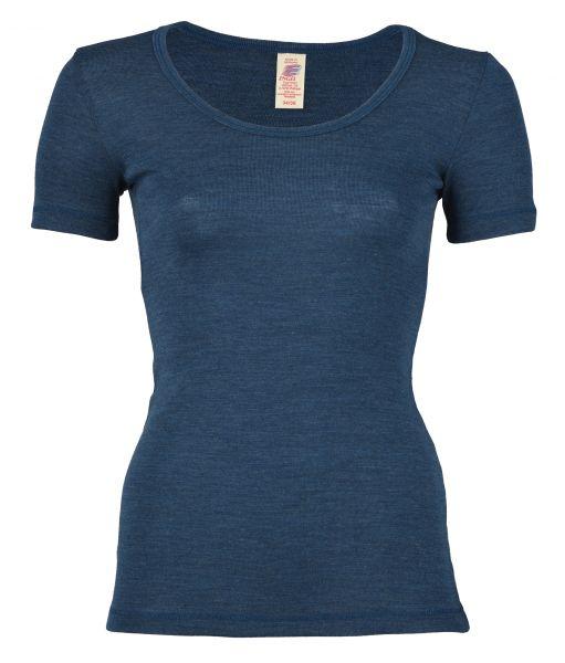 Damen-Shirt kurzarm, Feinripp saphir