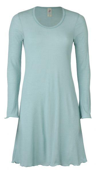 Damen-Nachthemd langarm, mit Rollsaum, Nadelzug gletscher