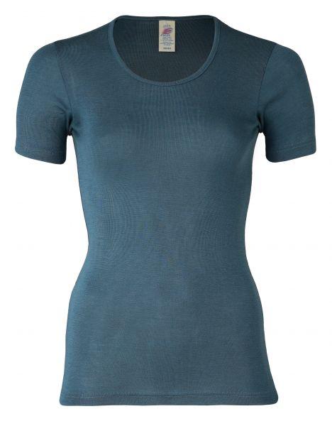 Damen-Shirt kurzarm, Feinripp atlantik
