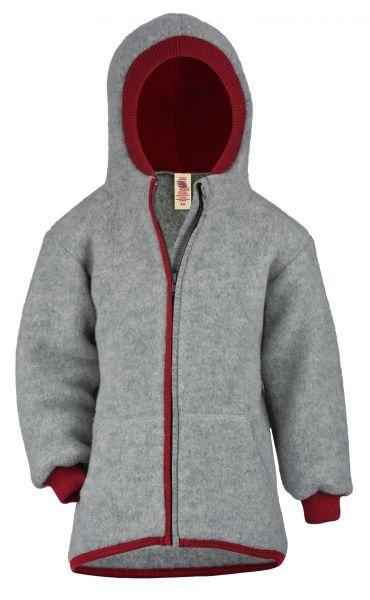 Kinder-Jacke mit gefütteter Kapuze, Reißverschluss und Taschen, Fleece hellgrau melange