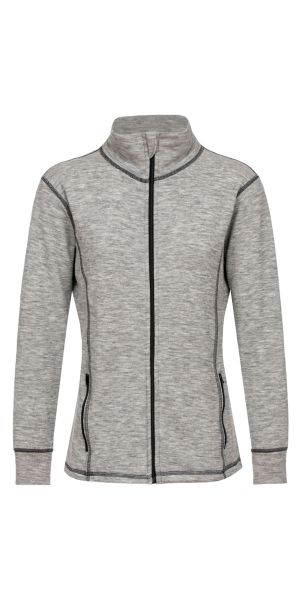 Damen-Jacke sportiv, Frottee inside out hellgrau melange (mit schwarz)