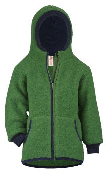 Kinder-Jacke mit gefütteter Kapuze, Reißverschluss und Taschen, Fleece grün melange