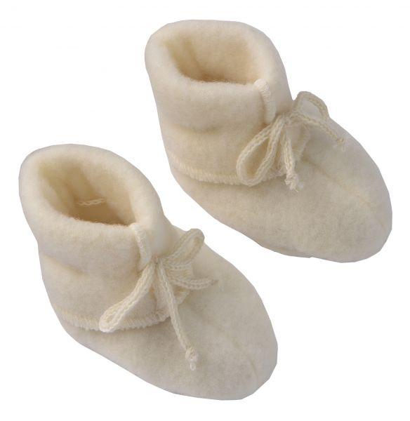 Baby-Schühchen mit Bändel, Fleece natur