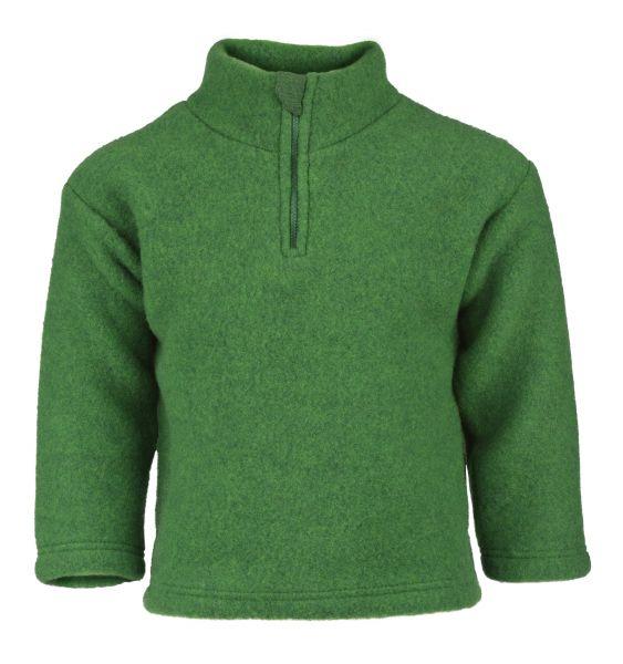 Pullover mit Reißverschluss und Kinnschutz, Fleece grün melange