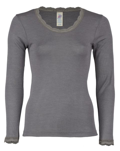 Damen-Shirt langarm mit Spitzenabschluss am Hals und an den Ärmeln, Feinripp taupe