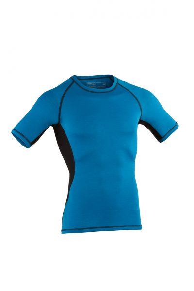 Herren Shirt kurzarm, Slim fit sky/black
