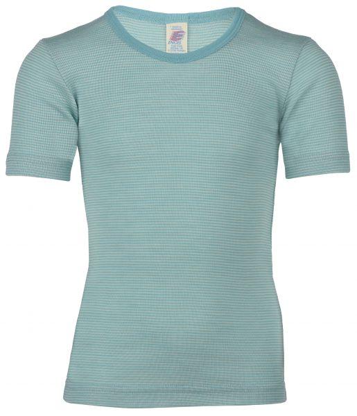 Kinder-Unterhemd kurzarm, Feinripp pastelblue/natur (2:2)