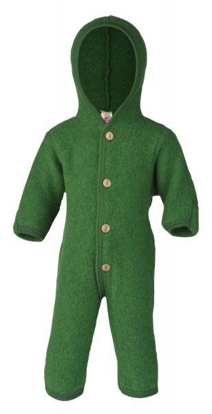 Baby-Overall mit Kapuze und Holzknöpfen, mit Umschlägen zum Verschließen an den Armen und Beinen, Fleece grün melange