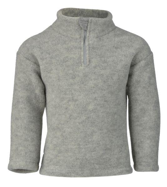 Pullover mit Reißverschluss und Kinnschutz, Fleece hellgrau melange
