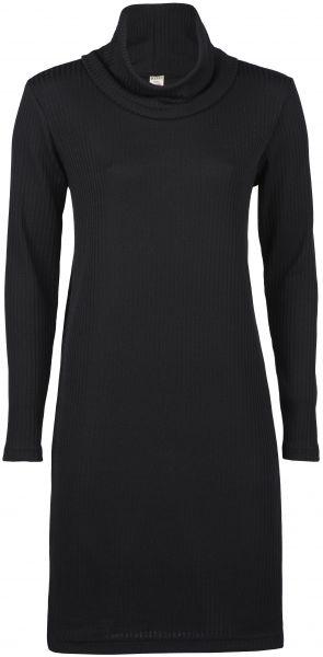 Damen-Kleid mit Rollkragen, Interlock-Rippe schwarz