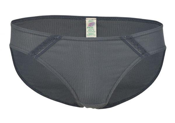 Damen-Bikini-Slip mit Spitzeneinsatz graphit