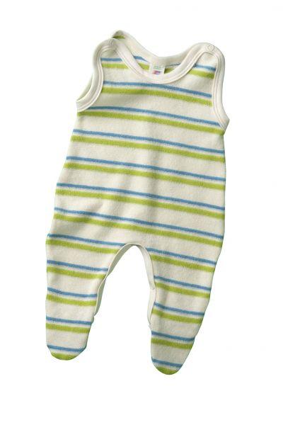 Baby-Strampler mit Fuß, Frottee natur/kiwi/aqua