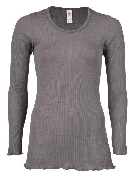 Damen-Longshirt mit Rollsaum, Nadelzug taupe