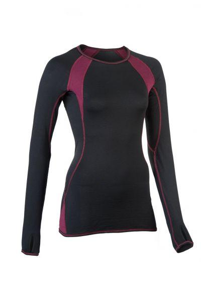 Damen Shirt langarm, Slim fit black/tango red