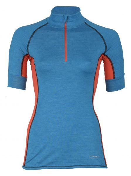 Damen Zip-Shirt, kurzarm, Single Jersey sky melange/spicy