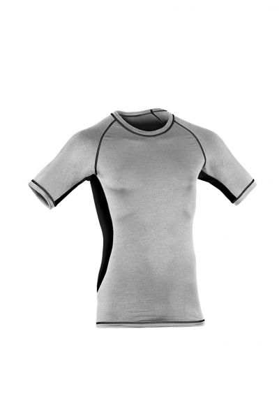 Herren Shirt kurzarm, Slim fit silver stone/black