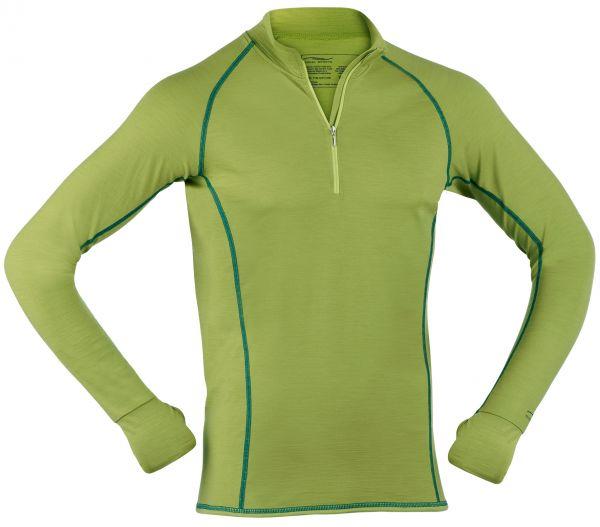 Herren Zip-Shirt langarm, Slim fit lime