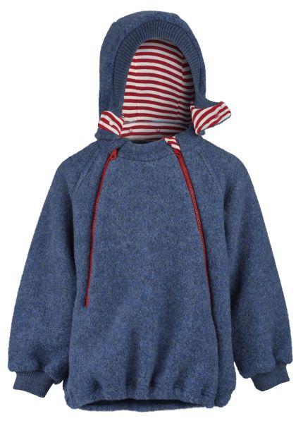 Kinder-Pulli mit gefütterter Kapuze, Reißverschlüssen und Kordeldurchzug, Fleece blau melange