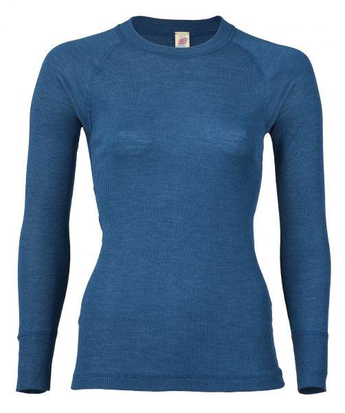 Damen-Shirt langarm, mit Flatlock-Nähten, Nadelzug light ocean
