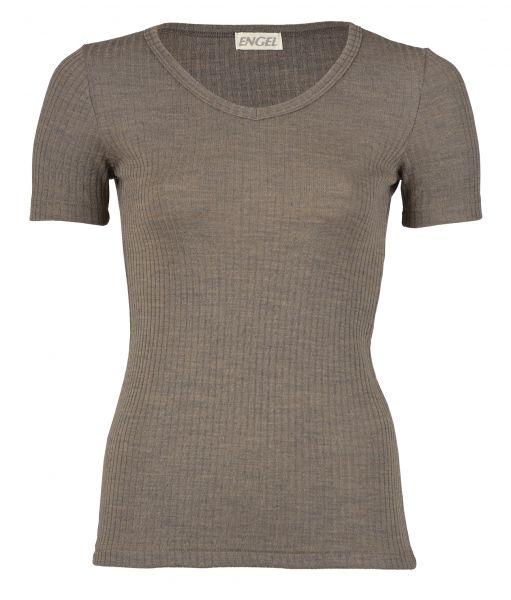 Damen-Shirt kurzarm mit V-Ausschnitt, Interlock Rippe walnuss