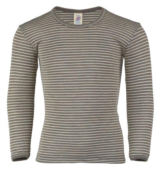 Kinder-Unterhemd langarm, Feinripp walnuss/natur (7:3)