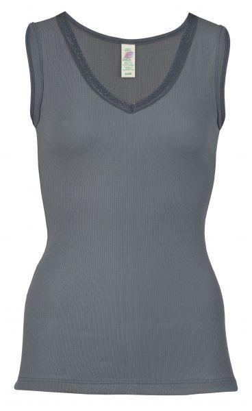 Damen-Achselhemd mit V-Ausschnitt und Spitze, Nadelzug graphit